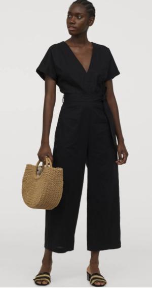 Black Linen Blend Jumpsuit