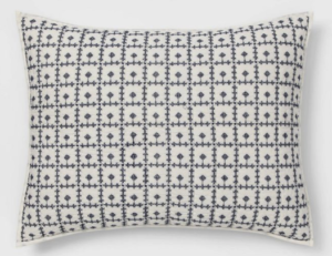 Embroidered Grid Sham Blue