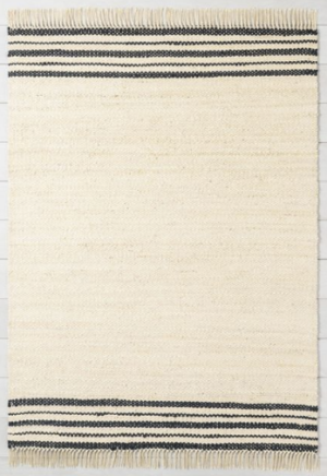 Charcoal Stripe Jute Rug