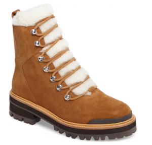 Marc Fisher Shearling Lace Up Boots