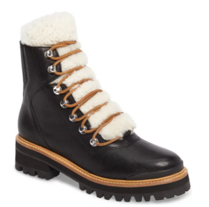 Marc Fisher Shearling Lace UP Boots black