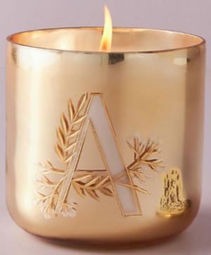 Holly Monogram Glass Candle